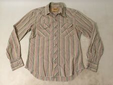 Mens BDG Vintage Western Shirt Snaps Plaid Sz Small Yellow Green Brown NICE WEAR