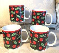 Set of 4 Sakura Mugs Mary Engelbreit Cherries On Black Background