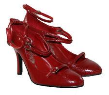 Señoras 4.5 Pulgadas Tacón Alto Hebilla al Tobillo Zapatos de escasez financiera Rojo Oscuro Talla 6