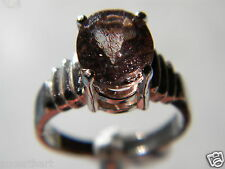 Tanzanian Sunstone Faceted 2.85TCW 10x8mm Solitaire, 925 Silver Ring Sz7.