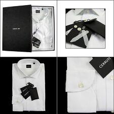Men's CERRUTI Solid White Cotton Spread Collar Dress Shirt 15 3/4 M 40 NIB $145!