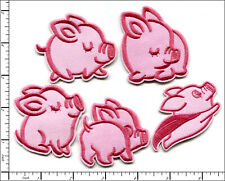 50 Pcs Embroidered Iron on Patches 5 assorted Lovely Cute Pink Pig AP013pD