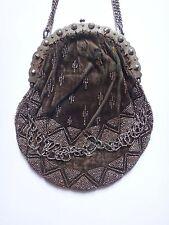 Ancien sac de soirée velours et perle acier facette XIXeme réticule