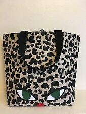 NUOVO LULU GUINNESS WILD CAT EYE & Animal Print Shopper Tote Bag LIMITED EDITION