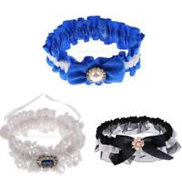Wedding Bridal Lace Garter with Pearl Crystal Bow Navy Blue/Black/White