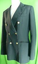Women's Brooks Brothers SZ-8 Black Gold Double-Breast Blazer Coat Jacket USA L44