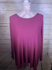 Eileen Fisher Womens Purple Pullover Scoop Neck Top Long Sleeve Size Medium (O1)