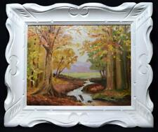 Original Irish Art Oil Painting Donegal Forest and Stream Signed Dated 1989
