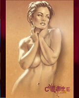 Print Of Female Painting - Beautiful Woman Posing Pin Up Art Drawing Artist