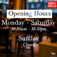 Bespoke Opening Times/Hours Retail Shop Window Door Vinyl Sticker Sticker Sign