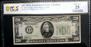 1934A $20 Federal Reserve Note. CLEVELAND.  PCGS 25 VERY FINE FR 2055-D