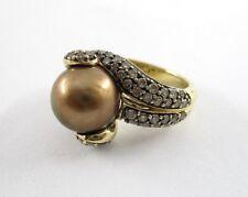 Le Vian 14K Yellow Gold Pearl & 78 Round Brilliant Cut Diamonds Ring Size 6.75