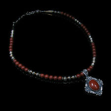 GORGEOUS .925 Sterling Silver Natural Brick Red Jasper Beaded Necklace