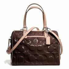 $428 NWT COACH Signature Stripe Embossed Patent Leather Satchel 25189 Brown/Tan