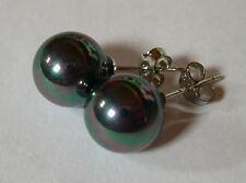 """BO PERLES NOIRES """"PAON"""" 10mm. SOUTH SEA SHELL PEARLS"""