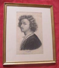 Superbe dessin de 1842 portrait de VANDICK signé FR. BOUCOMONT