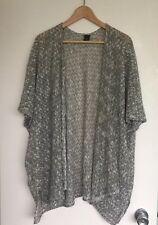 Cardigan Plus Size 18 /20 Fine Knit Green Gold Metallic Yarn Kimono Open Style