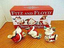 Adorable Fitz & Floyd Merry & Bright Santa Tumblers 2011 Set of 3 with Box