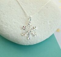 Sterling Silver Snowflake Pendant Necklace - UK Seller