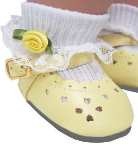 HIGH QUALITY Yellow Shoes & Rosebud Socks for Bitty Baby Doll Clothes