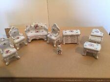 White Ceramic Antique Dollhouse Furniture, Living Room Set, Floral Design