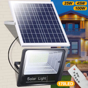 Solar Powered LED Floodlight Wall Security Light Garden Outdoor Lamp + Remote UK
