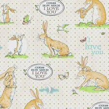 Guess how much I love you By The yard cotton fabric Bunny Rabbits on cream w/dot