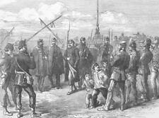 FRANCE. Prussian control line, Pont De La Concorde, antique print, 1871