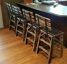 4 - Reclaimed Whiskey Bourban Barrel Stave Bar Stools,  Charred Barrel Wood