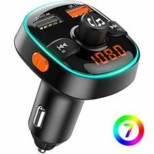 Bovon Transmetteur FM Bluetooth 7 Couleurs Lumière Ambiante avec Mode