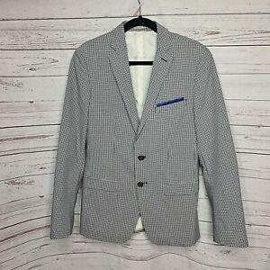 ZARA MAN tailored fit check blazer sportscoat US 38 pocket square elbow patch
