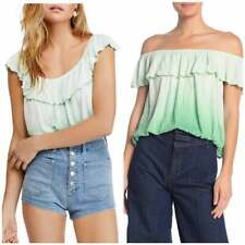 $38 Free People Cora Lee Off The Shoulder Ombre Ruffle Top M Sea Foam Green