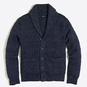 Jcrew Cotton shawl-collar cardigan sweater NWT Marled-Blue Style Mercantile