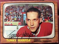 **SIGNED** TERRY HARPER 1966-67 TOPPS #68 Montreal Canadiens Hockey Card ~ NICE!