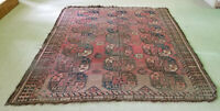 """ANTIQUE LATE 19c AFGHAN ELEPHANT FOOT PATTERN OAT HAIR FOUNDATION RUG 6'8""""x8'3"""""""