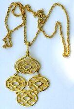 Grand pendentif collier bijou couleur or vintage pampille gravé ajouré 673