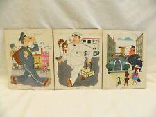 3 Vintage Playskool Board Tray Puzzles Milkman Mailman Policeman