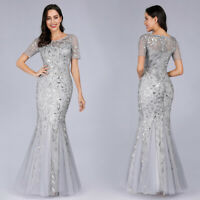 Ever-Pretty US Silver Bridesmaid Dress Fishtail Mesh Applique Evening Gown Maxi