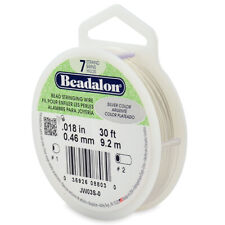 Beadalon Bead Wire 7 Strand .018 in (0.46mm) Satin Silver - 30ft (9.2m)