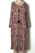 ESPRIT Kleid Gr. L rot-blau-bunt wadenlang 3/4-Arm Paisley Muster Shirt Kleid