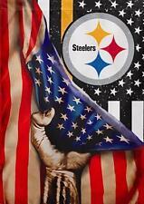 2 Pittsburgh Steelers US Flag Waterproof Vinyl Stickers 5x3.5 Car Decals