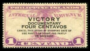 W764 PHILIPPINES 4c on 1c Violet REVENUE VICTORY OVERPRINT MNH SEE PHOTOS K-545