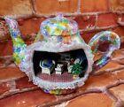 Paper Mache Floral Teapot Diorama Handmade Unusual Colorful Patio Scene AWESOME
