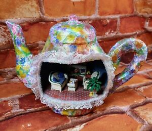 Paper Mache Floral Teapot Diorama Handmade Unusual Colorful Patio Scene