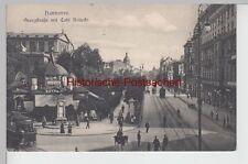 (112076) AK Hannover, Cafe Kröpcke, Georgstraße, Litfaßsäule, Straßenbahn 1908