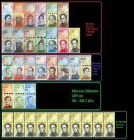 Venezuela Full Set 2-100,000 Bolivares, 2-500 / New 10k-50k +10 X 100k -34 PCS