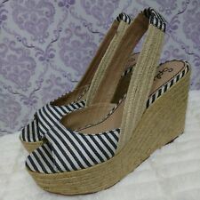 Splendid Espadrille Slingback Peeptoe Wedges Womens 9.5 Nautical Stripe Canvas