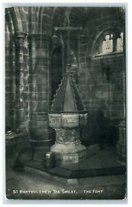 Postcard St Bartholomew The Great London The Font