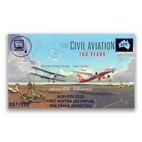Australia 2020 AUSVIPEX Virtual Expo Imperf Stamp Mini Sheet Civil Aviation
