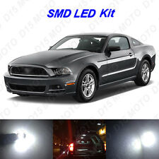 9 x White LED interior Bulbs + Reverse + Tag Lights for 2010-2014 Ford Mustang